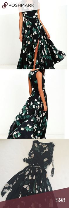 LULUS MAGNOLIA BLOOMS BLACK FLORAL MAXI DRESS BRAND NEW WITH TAGS - It features a flattering wrap neckline, a tie at the waist, and a flowy bottom skirt with slits for extra movement! Lulu's Dresses Maxi