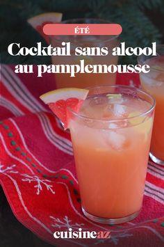 Ce cocktail sans alcool au pamplemousse contient seulement 3ingrédients ! #recette#cuisine#cocktail#sansalcool #pamplemousse #agrume Cocktails, Pudding, Desserts, Food, Drink, Juice Bottles, Grapefruit Juice, Bartenders, Favorite Recipes