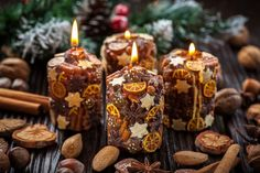 creative christmas crafts ideas natural materials handmade candles fruits nuts unique christmas gift ideas