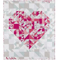 """= free pattern = Qube 12"""" Pieced Heart Quilt Pattern for Accuquilt GO"""