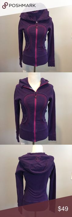 Lululemon Scuba Hoodie size 4 Excellent condition, very pretty purple color with pink stitching. lululemon athletica Sweaters