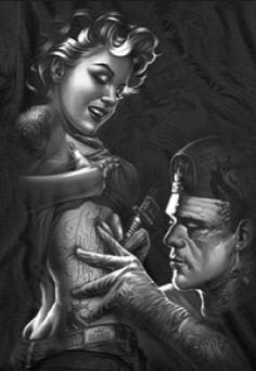 Character Illustration Frankenstein the tattoo artist