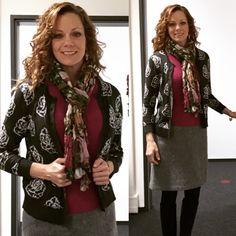 JCrew skirt. LOFT sweaters, scarf and jewelry. #workingwoman #scarves #workfashion