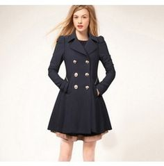 c559fc0f861 Regular Plus Size Navy Beige Pea Coat Winter Jacket Double Breasted Trench  Coat