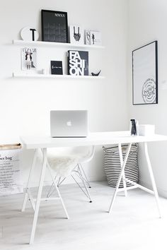 Via My White Obsession | White Home Office | Scandinavian