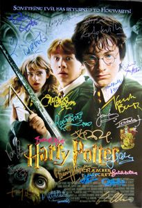 HARRY POTTER Chamber Of Secrets original 27x40 movie poster signed by Daniel Radcliffe (Harry Potter), Rupert Grint (Ron Weasley), Emma Watson (Hermione Granger), and cast