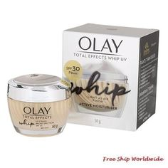 Olay Total Effects Whip UV SPF30 PA    50g. Olay Regenerist, Skin Care Cream, Clogged Pores, Uneven Skin Tone, Day Makeup, Face Skin Care, Moisturiser, How To Know