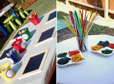 chalk art and make your own necklace station Art Party Activities, Craft Activities For Kids, Family Activities, Crafts For Kids, Educational Activities, Artist Birthday Party, Baby Birthday, Birthday Ideas, Pasta Art