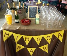 Mimosa Bar for Bridal shower brunch!! Burlap & Sunflower Theme. Burlap runner and banner we made, glasses from oriental trading, chalk board with instructions, straws from etsy, etc. Guests loved it!! So did my cousin the Bride :)