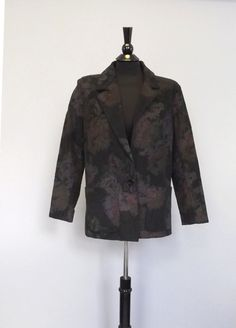 Vintage Women's 80s 90s Fox Run Black Purple Rose Floral Print Corduroy Cotton Oversize Blazer Coat Fall Jacket Grunge Hipster Medium Preppy...