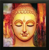 SAF 'Buddha Religious' Painting (Synthetic, 35 cm x 3 cm x 35 cm, Buddha Drawing, Buddha Painting, Krishna Painting, Krishna Art, Mural Painting, Mural Art, Painting Frames, Painting & Drawing, Buddha Artwork