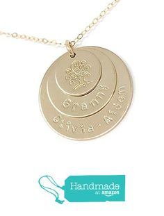 Art Deco Personalized Jewelry Awesome Gift Personalized Necklace Mommy Necklace Hand Stamped Jewelry 4 Square Mixed Metal Discs Discs