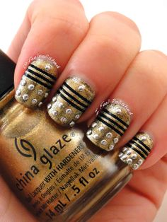 Doctor Who Nail Art - needs a blue bead near the cuticle but really cute.
