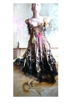 Reserved For Nadia L. Unique Feminine Dress  PINK and BLACk ROSES Fairy Romantic Cinderella Hippie Gipsy Boho Tattered