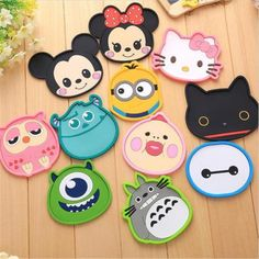 New Silicone Cartoon animal Totoro Hello Kitty Baymax Cup Coaster Nonslip Place Mat pads Cup Cushion Minions Tea Cup Holder Cat Coasters, Coffee Coasters, Tea Coaster, Baymax, Kawaii, Dining Table Placemats, Minions, Hello Kitty Kitchen, Coffee Cup Holder