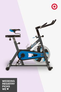 Another way to raise your heart rate? The ProGear 120Xi training cycle. This stationary bike simulates an uphill road experience and offers two-way pedaling. Each of you can adjust the seat and the tension as you wish. Put this on your wedding registry to save you trips to the gym.