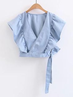 To find out about the Surplice Front Ruffle Trim Knot Detail Denim Top at SHEIN, part of our latest Denim Tops ready to shop online today! Denim Top, Denim Blouse, Ruffle Blouse, Ruffle Skirt, Ruffle Sleeve, Blue Denim, Hijab Fashion, Girl Fashion, Fashion Dresses