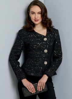 V9339   Misses' Jacket   Vogue Patterns Smart Jackets, Line Jackets, Jackets For Women, Kimono Style Dress, Kimono Fashion, Vogue Patterns, Burda Patterns, Mode Kimono, Plus Size Sewing Patterns