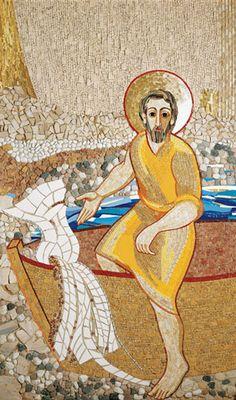 Saint-Pierre quittant son bateau et ses filets pour suivre Jésus. - Chapelle de la nonciature apostolique.- Paris - France - Octobre 2003 - Août 2004