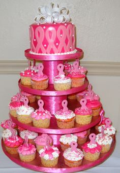 Breast Cancer Awareness Cake and Cupcakes. LOVE the cake! #cupcake
