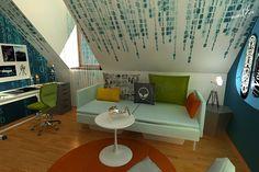Tetőtéri terveimhez csatlakozik harmadikként, ez a fiú szoba, melynek tematikája a sci-fi filmek világa. Színei igazán fiúsak, kék, sárga, zöld, narancs, szürke. A ferde fal stencilezéssel festett mátrixot kapott, illetve a másik falon tapétával sötétebb árnyalatban jelenik meg… Attic Inspiration, Sci Fi, Sweet Home, House Design, Room, Home Decor, Bedroom, Science Fiction, Decoration Home