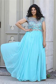 Bateau V Back Long Sky Blue Chiffon Beaded Plus Size Formal Prom Dress With Sleeve