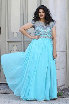Bateau V Back Long Sky Blue Chiffon Beaded Plus Size Formal Prom Dress With Sleeve