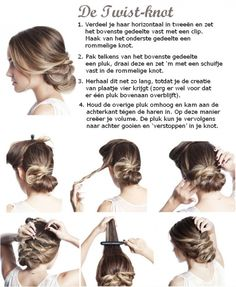 1. Part your hair horizontally in two and clip the upper part to your head. Make a messy bum of the lower half. 2. Take a lock from the upper half, twist it and pin it to the massy bum using a bobby pin. 3. Repeat this, until you get the creation on the 4th picture (take care that one lock stays free on top). 4. Hold this last lock up and tease it (backcomb it) to create volume. Then you can throw this lock to the back and 'hide' it in the bum.
