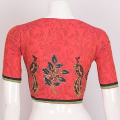 Hand Block Printed Cotton Blouse With Applique Embroidery Back 10021508 - 40