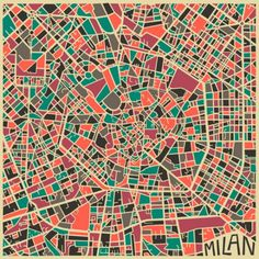 Abstract city maps by Jazzberry Blue. The Toronto based artist belongs to my favourite graphic artists, known for his surreal and abstract images of the world and societ. He designed a series of city maps made up of geometrical forms breaking down the urban confusion. Los Angeles, New York, Chicago, New Delhi, London, Paris, Jerusalem and Milan – all different, but suddenly their tangled nets of streets seem to make sense. #Milan
