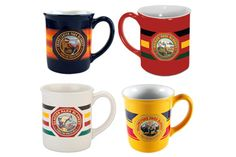 Mugs featuring National Park's visitor decals from the 1920s.