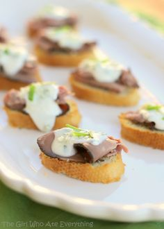Beef and Blue Cheese Crostini - {The Girl Who Ate Everything}