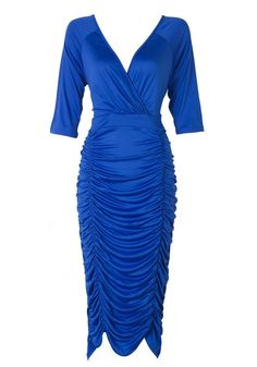 Plus Size Fashion // Beat fashion rules that says full-figured women can't wear too tight dress by slipping into this blue ruched plunging bodycon dress.