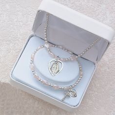 Amazon.com: Girls First Communion Necklace & Bracelet Set. Heart Shaped Miraculous Medal and Pink Heart Beads, Stretch: Jewelry