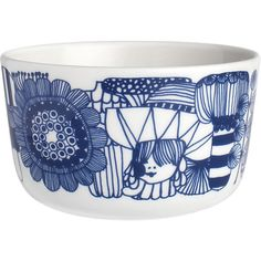 "Marimekko Siirtolapuutarha Blue and White 3.75"" Bowl in Kitchen and Table 