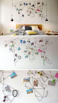 These geometric world maps are made from wire that lets you clip treasures and photos from your travels onto the map so you can personalize your wall even more.