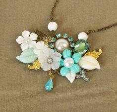 Statement Romantic Necklace - Turquoise Blue Vintage Style Necklace, Collage Necklace, Bridal Necklace, Wedding Something Blue, Rhinestones. $74.00, via Etsy.