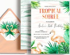 Flamingo Invitation Tropical Invitation Birthday Sweet 16 21st 30th 40th 50th 60th Peach Mint Palm Watercolour by WestminsterPaperCo