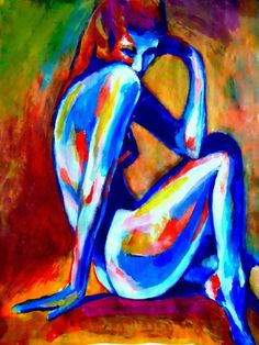Abstract nude female artwork Medium: Acrylic on canvas Size: 46x62 cm. (18.2x24.6 in.)