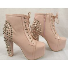 WOMENS LADIES BLOCK HIGH HEEL SPIKES LACE UP ANKLE BOOTIES SHOES BOOTS... Soooo Pretty!!