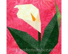 12.5 Inch Quilt Block Patterns | Calla Lily flower quilt block pattern, paper pieced quilt patterns ...