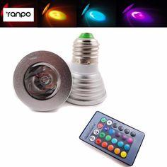 E27 6W RGB LED Magic Spotlight  Downlight Bulb Lamp Home Lighting 16 colors AC 110V AC 220V + IR Remote Controller #Affiliate