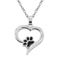 Newest Popular Valentine's Day Gift Necklace Fashion Hollow Dog Claw Love Heart Pendant Necklace For Women Lovers Heart Necklace