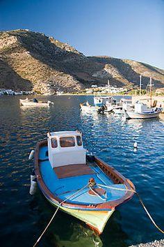 Greek fishing boat in Vathi habor, Sifnos island, Greece