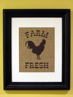 Burlap Art Kitchen Decor Rooster Print Burlap By Ourhomeourhands 19 00