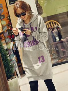 Casual Gray Letters Print Cotton Women's Hoodie