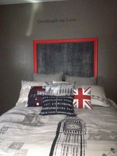 Chalkboard instead of Headboard! Tommy's  London Theme Room.