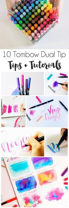 10 Super Tombow Dual Tip Tutorials - Typografie und Handlettering Dessin de Calligraphie Creative Lettering, Brush Lettering, Lettering Ideas, Doodle Lettering, Tombow Markers, Brush Markers, Brush Pen Art, Tombow Dual Brush Pen, Diy And Crafts
