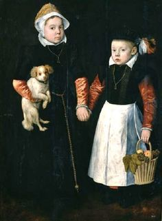 1563 Studio of Pieter Aertsen (1508-1575)  Sister and Brother with Dog