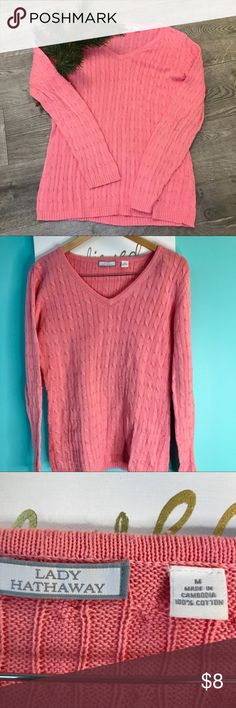 Lady Hathaway Cable Knit Pink Sweater 100% cotton Lady Hathaway sweater in excellent condition! Lady Hathaway Sweaters Crew & Scoop Necks